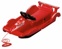 """Řiditelné dětské boby AlpenRace červené s volantem - """"race car design"""""""