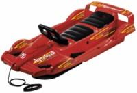 """Řiditelné dětské dvoumístné boby DoubleRace červené s volantem """"car race design"""""""